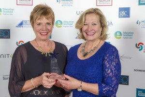 Sheila Watson and Lesley Newton from Glasgow Clyde College collecting the SQA Innovation Star Award